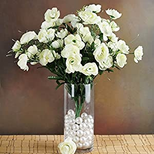 Tableclothsfactory 72 pcs Artificial Ranunculus Flowers for Wedding Arrangements - 4 Bushes - Cream 99