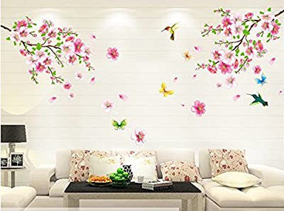 Salala Pink Cherry Blossom Tree Wall Decal, Flower Floral Wall Sticker with Butterfly, Vinyl Art Wall Decal, Wall Decal Mural from Salala