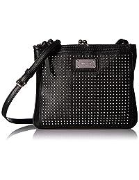 Nine West Womens Jaya Faux Leather Studded Crossbody Handbag Black Small