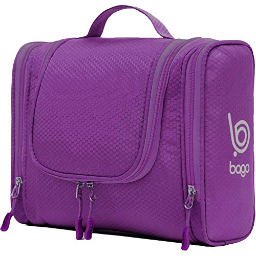 Bago Hanging Toiletry Bag For Women & Men - Leak Proof Travel Bags for Toiletries with Hanging Hook & Inner Organization to Keep Items From Moving - Pack Like a PRO (Purple) (Tool Closet Online Design Organizer)