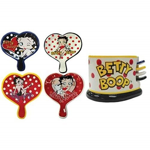 Betty Boop Tea Bag Holders Set of 4 with Storage Unit, Multicolored