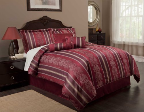 Fashion Bed Group QA0066 Paramount Regal 7-Piece Comforter and Pillow Bed Ensemble Deluxe Pack, (Southern Textiles Square Pillow)
