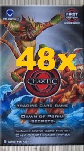 Chaotic DAWN OF PERIM SECRETS Trading Card Game Booster - 48 PACK LOT (9 Cards/Pack)