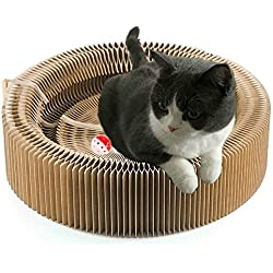 Cat Scratcher Cardboard Scratching Post Pad Scratch Lounge Bed Large Turbo Ball Toy with Catnip Protect Furniture and Keep Kitty Health Fun