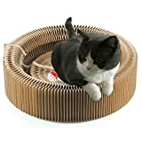 BUDPAW Cat Scratcher Cardboard Scratching Post Pad Scratch Lounge Bed Large Turbo Ball Toy with Catnip Protect Furniture and Keep Kitty Health Fun