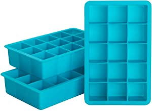 Webake Ice Cube Trays Silicone Ice Cube Molds, 15 Cavity Whisky Ice Cube Tray, Easy Release, BPA Free, Flexible Pack of 3