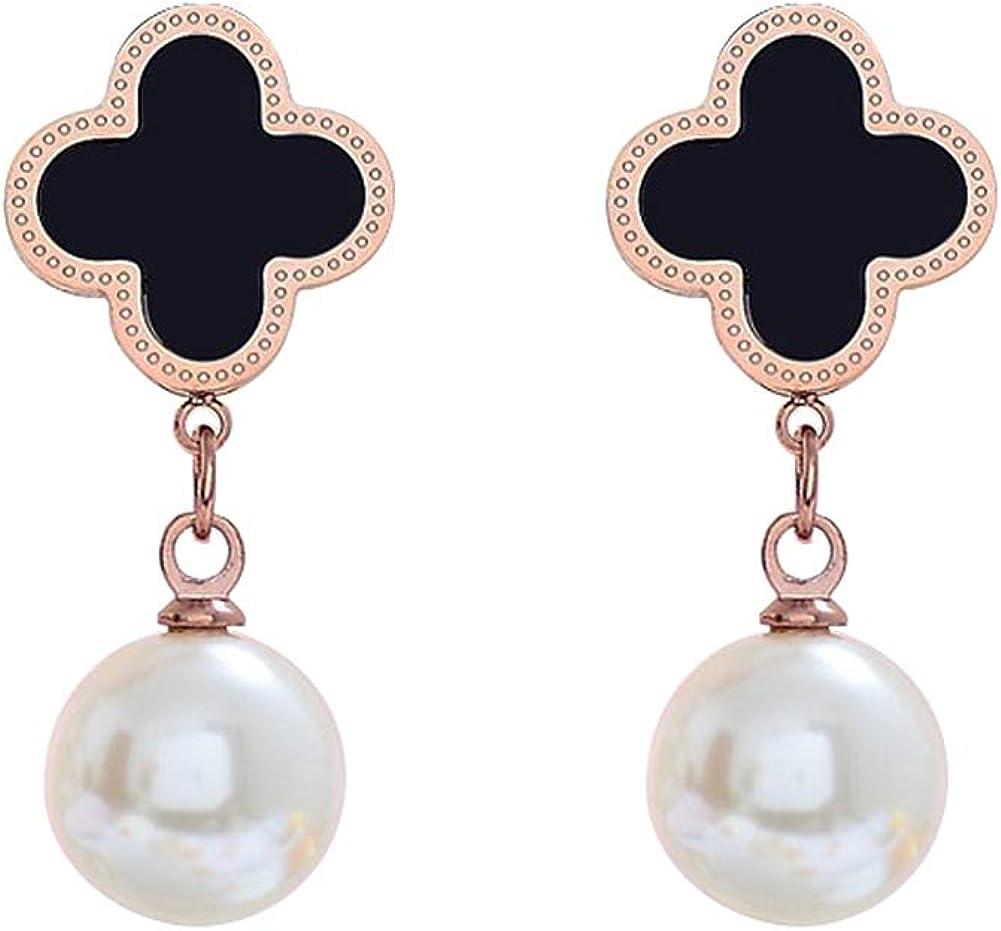 Pendientes de acero de titanio de cuatro hojas de trébol de perlas de borla larga elegantes pendientes de moda no se decoloran, hipoalergénicos pendientes de las mujeres de la joyería regalos