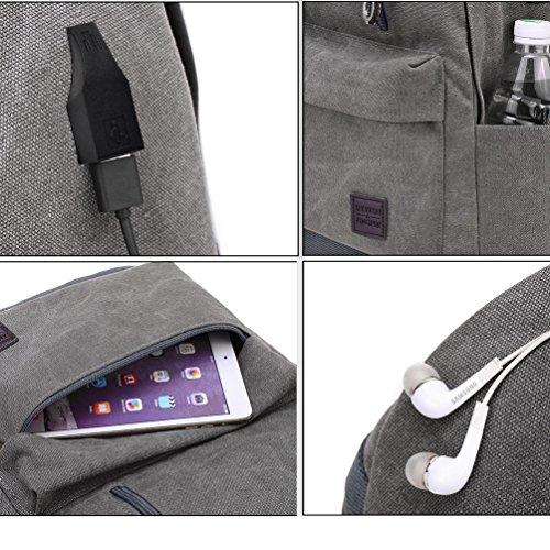 Vbiger Leinwand Rucksack Lässiger Tagesrucksack Klassische Schultasche Einfache Reisetasche mit Ladeanschluss und Kopfhörer Loch Hellgrau CyMVRwKjHT
