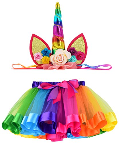 Loveyal Tulle Rainbow Tutu Skirt for Newborn Baby Girls 1st Birthday Photography Outfit Sets with Unicorn Headband. (Rainbow #1, S,0-24 Months) -