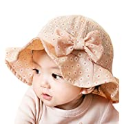 Sumolux Toddlers Baby Girls Floral Bowknot Mesh Large Brimmed Cotton Sun Protection Floppy Hat Summer