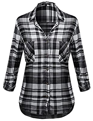 Awesome21 Women's Plaid Long Roll Up Sleeves Chest Pocket Button Closure Shirt