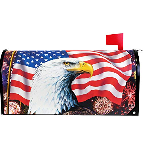(Wamika American Memorial Day Independence Flag Mailbox Cover Magnetic Standard Size,Spring Patriotic Eagle Veteran Letter Post Box Cover Wrap Decoration Welcome Home Garden Outdoor 21