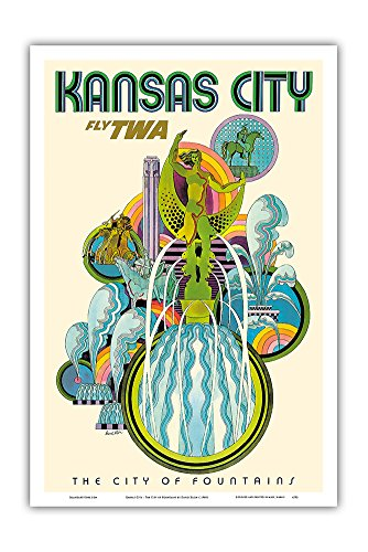 Kansas City - Fly TWA (Trans World Airlines) - The City of Fountains - Vintage Airline Travel Poster by David Klein c.1960s - Master Art Print - 12in x 18in - 1960 Poster Print