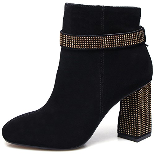Black Classic Chunky Zip Side Nine Studded Leather Women's Toe Boots Heel Square Seven Suede Ankle Handmade aqwU71Z