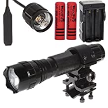 WindFire Cree Xm-l T6 LED 1000 Lumens 1 Mode Flashlight with Remote Switch Pressure Wire Switch Extension Cable and Flashlight & laser mount for Gun/Rifle/Shotgun plus WindFire 18650 Rechargeable Batteries and AC Charger