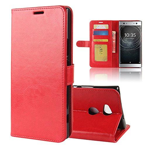 Funda Sony Xperia XA2 [Happon] Ranuras para Tarjetas y Billetera Carcasa PU Libro de Cuero Flip Leather Cierre Magnético Soporte Plegable para Sony Xperia XA2 (Negro) Rojo