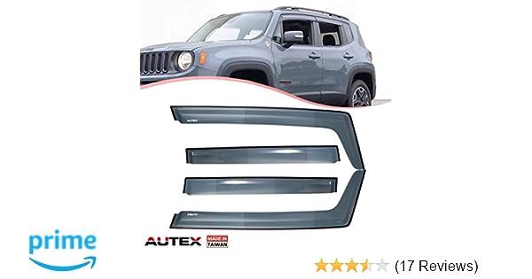 ASG Window Visors Sun Rain Guard Side Vent Deflector For 2016 2017 Jeep Renegade