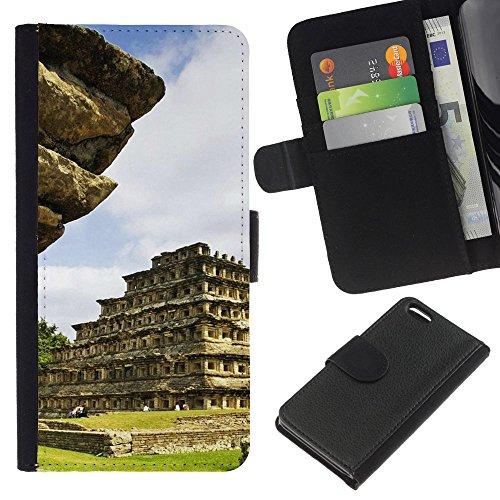 Lead-Star (Architecture Inca Maya Aztec Temple) Colorful Impression Holster Cuir Wallet Cover Housse Peau Cas Case Coque Pour Apple iPhone 5C