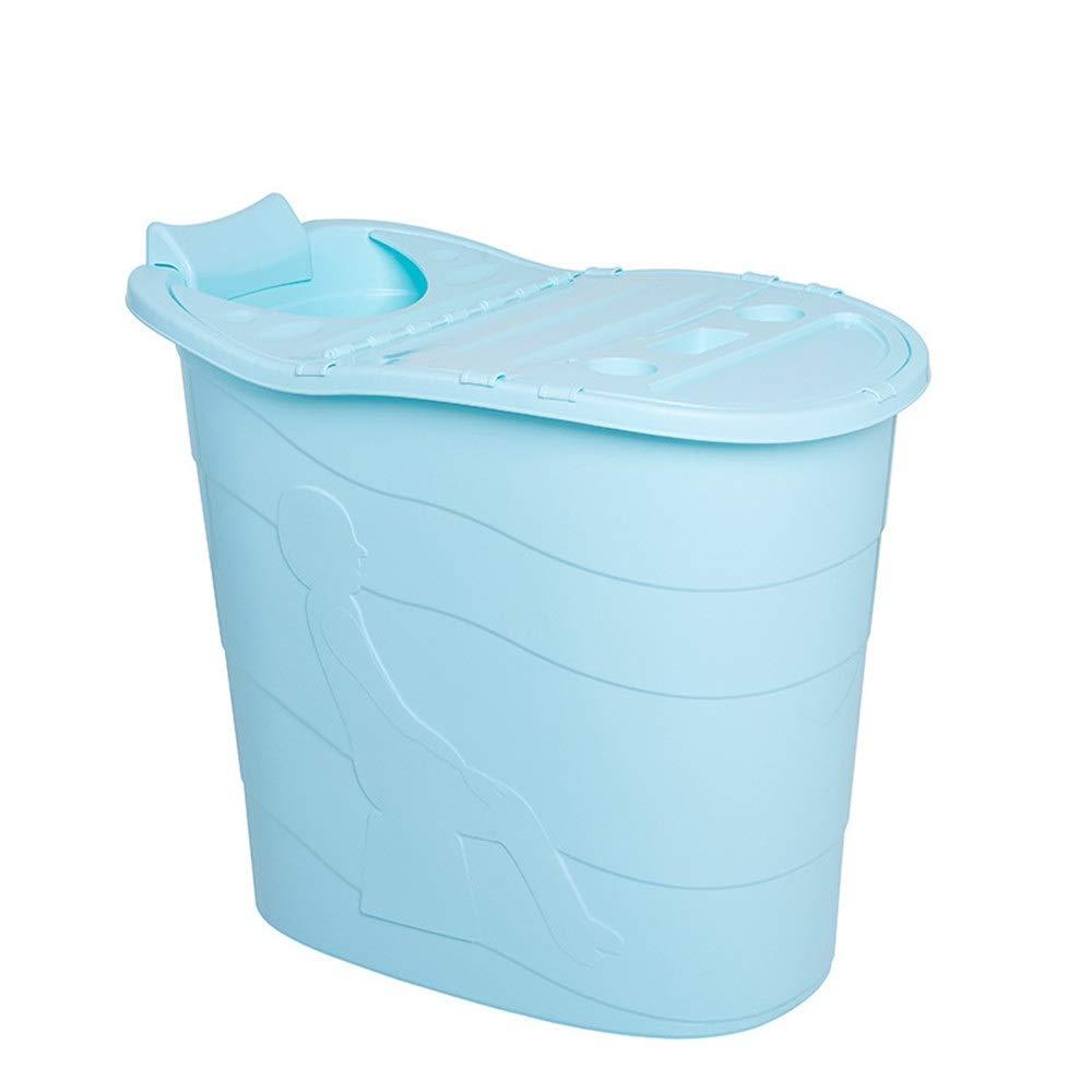 LXUA Foldable Bathtub Adult Bathtub Solid Color PP Baby Swimming Pool Children Bath Barrel Household Portable Tub Multi-color Optional Portable Bathtub Color : Blue, Size : 89X81X58cm