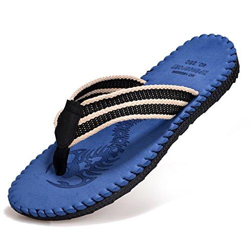Lightweight Slip Sandals - VAMJAM Men's Flip-Flops Light Weight Thong Sandals Non-Slip Beach Slippers Blue 40