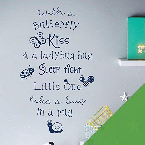 with a Butterfly Kiss & a Ladybug Hug, Sleep Tight. - Children Nursery Room Wall Art Sticker - Rhyme Ladybug Nursery