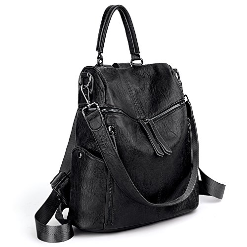 UTO Women Backpack Purse PU Washed Leather 3 Ways Ladies Rucksack Zipper Shoulder Bag A Black by UTO