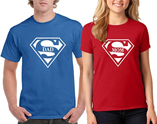 H&T Shirt Valentine's Day Special Super Dad and Super Mom Couple T-Shirts Tee Shirts 1(Blue-Red,Men-XL/Women-M)