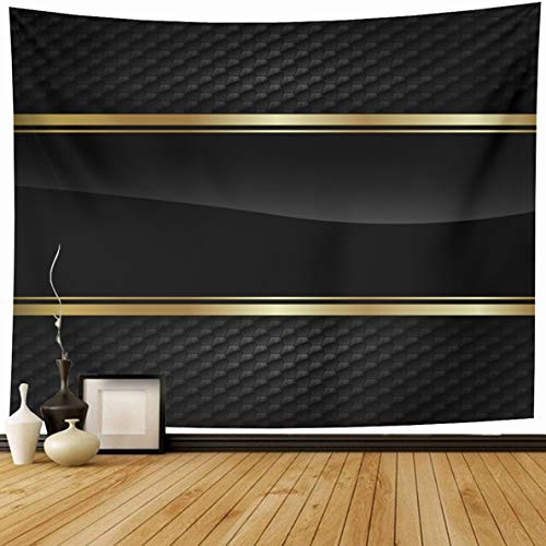 Ahawoso Tapestry 80 x 60 Inches Shadow Line Black Stripe Gold Border On Shape Dark Golden Ribbon Strip Label Design Home Decor Wall Hanging Print for Living Room Bedroom ()