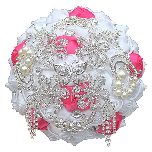 Fantastic-Journey Luxury Ivory Rose Flowers Silk Brooch Bridal Bouquets Tassel Full Diamond Stitch Wedding Bouquet Decoration,18cm White hot Pink
