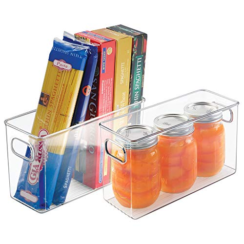 mDesign Refrigerator, Freezer, Pantry Cabinet Organizer Bins for Kitchen, 10 x 4 x 6, Pack of 2, Clear