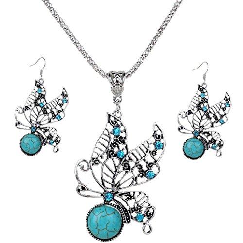 [2017 Hot Jewelry Set ! AMA(TM) Women Vintage BOHO Style Peacock Butterfly Flower Owl Turquoise Pendant Necklace Earrings Eardrop Jewelry Set Gifts] (Butterfly Costume Jewelry)