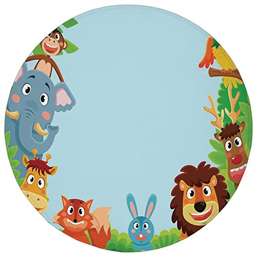 Round Rug Mat Carpet,Kids,Cute Jungle Cartoon Animals Parrot Bird Bunny Fox Giraffe Monkey Deer Antler Lion Art Print Decorative,,Flannel Microfiber Non-slip Soft Absorbent,for Kitchen Floor Bathroom