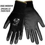 Global PUG Work Glove PUG17M Polyurethane/Nylon Glove, Work, Medium, Black, (12 PAIR)