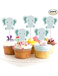 24Pack Elephant Baby Cupcake Toppers For Jungle Themed Birthday,Baby Shower Decor And Cupcake Party Pick
