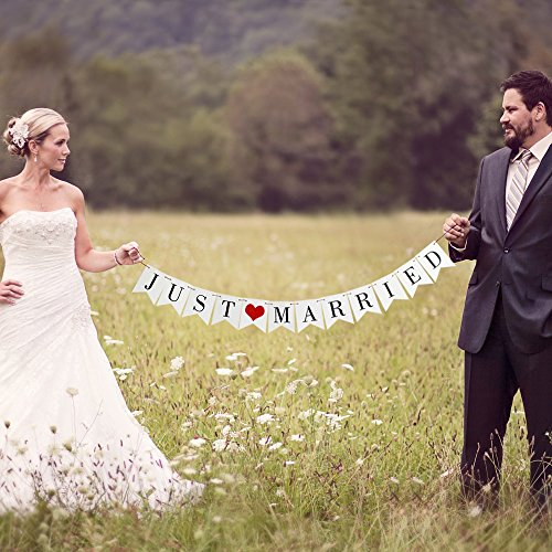 VANVENE Vintage Just Married Banner Wedding Bunting Photo Booth Props Signs Garland Bridal Shower Decoration, White]()