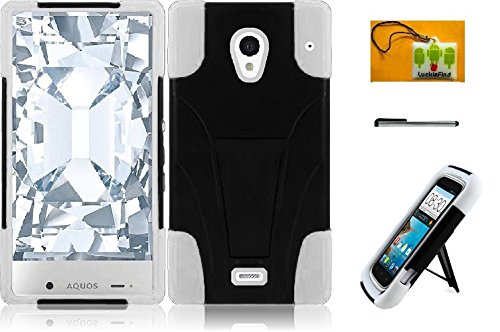 LF 3 in 1 Bundle - Hybridy Dual Layer Case with Stand, Lf Stylus Pen & Droid Wiper Accessory for (Sprint) Sharp Aquos Crystal (Stand White) (Sharp Aquos Crystal Keyboard compare prices)
