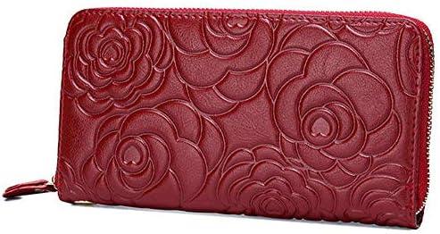 女性の本物のレザー牡丹の花のデザインロングウォレットは、エレガントな財布のカードホルダーコインバッグ YZUEYT
