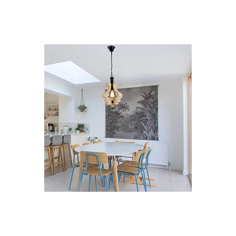 PUUPA Farmhouse Pendant Light, Single Adjustable Rustic Wooden Hanging Island Chandelier Lighting Fixture