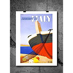Itay Summer Travel Travel Poster Print 8x10 Print Vintage Advertisments Abstract Prints Wall Art for Home Decor Wall Decorations For Living Room Bedroom Office Ready-to-Frame