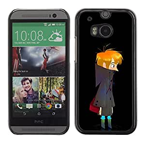 Paccase / SLIM PC / Aliminium Casa Carcasa Funda Case Cover - Dark Night Boy Art Drawing Wandering Lonely - HTC One M8
