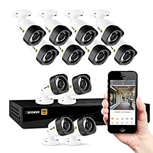 Defender HD 1080p 16 Channel 2TB DVR Security Surveillance System and 16 Long Range Night Vision HD Bullet Cameras with Mobile Viewing and Motion Detection Notifications