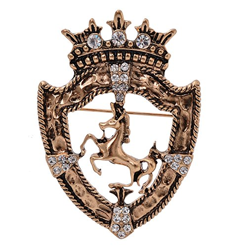 Vintage Golden Tone Queen Crown Pin Brooch Crystal Horse Racing Chapter Badge