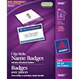 "Avery Garment Friendly Clip Style Name Badge Kit for Laser and Inkjet Printers, 2-5/8"" x 3-1/2"", Clear, 100 Pack (74461)"