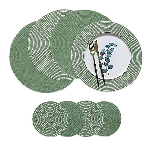 - HiiARug Round Placemats with Coasters Set of 4,Washable Placemats and Coasters Set for Kitchen Dining Table Outdoor Picnic BBQ Party Decoration (4, Green A)