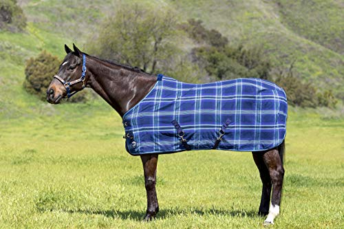 Kensington Products Poly Cotton Horse Blanket - Lightweight Breathable Waterproof Equine Stable Day Sheet (72, 181- Kentucky Blue) (Turnout Weight Medium)