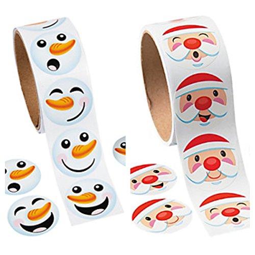(200 SANTA & Snowman Face Stickers (1 Roll of 100 each) - WINTER Christmas - HOLIDAY PARTY Classroom MOTIVATION Teacher Rewards FROZEN)