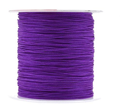 Purple Silk Thread Bracelet (Mandala Crafts 0.5mm Satin Nylon Chinese Knot Rattail Macramé Beading Knotting Sewing Cord, 150M (Purple))