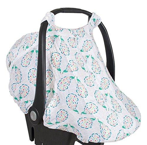 Bebe au Lait Premium Muslin Car Seat Cover, Peacocks (Peacock Baby)