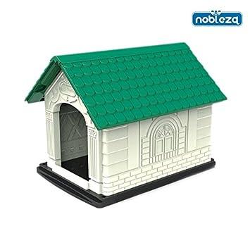 Caseta para perros Nobleza, de polipropileno con tejado a dos aguas verde y estructura blanca, alto 68 cm. Envío gratis.: Amazon.es: Hogar
