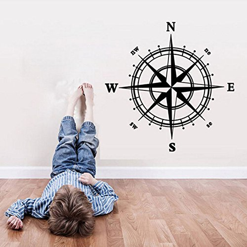 OKOKMALL US--Compass Rose Vinyl Wall or Ceiling Decal map home decor transfer sticker